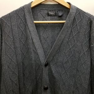 haggar Button Up Sweater Grey 5 Button